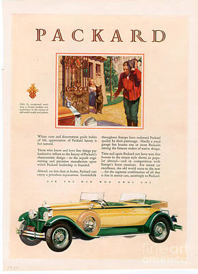 Vintage Drawing - Packard 1928 1920s Usa Cc Cars by The Advertising Archives