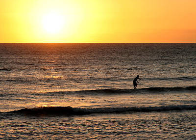 Photograph - Paddle Board Surfer At Sunset by John Orsbun