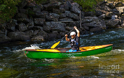 Canoe Photograph - Paddler In A Whitewater Canoe by Les Palenik