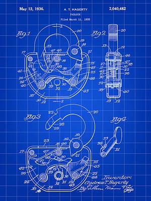 Padlock Patent 1935 - Blue Art Print