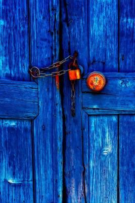 Entrance Door Mixed Media - Padlocked Blue Wooden Door by Ken Biggs