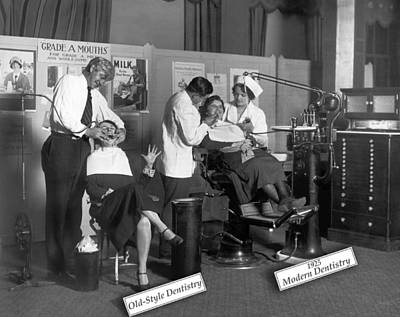 Old And New Photograph - Painless Modern Dentistry by Underwood Archives