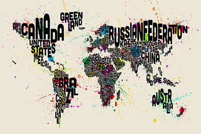 Digital Art - Paint Splashes Text Map Of The World by Michael Tompsett