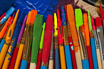 Photograph - Paintbrushes Lined Up On Palette by Jim Corwin