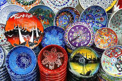 Grand Bazaar Photograph - Painted Ceramic Bowls In The Grand Bazaar Istanbul by Robert Preston