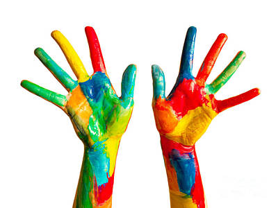 Colourful Photograph - Painted Hands On White by Michal Bednarek