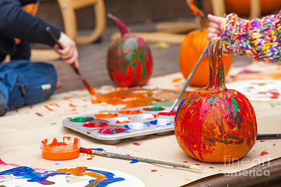 Designers Choice Photograph - Painted Pumpkins by Verena Matthew