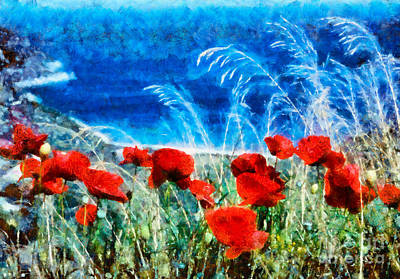 Painting - Painting Of Poppy Flowers by George Atsametakis