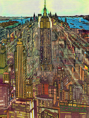 Painting - New York Mid Manhattan 1971 by Peter Potter