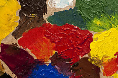 Photograph - Palette With Paint Being Mixed by Jim Corwin