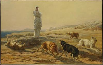 Pallas Athena And The Herdsmans Dogs Art Print