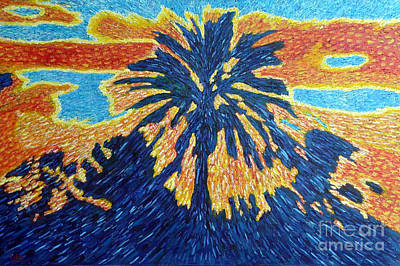 Palm Tree In Rising Sun Original