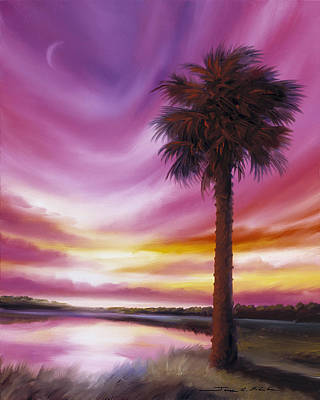 Carribean Painting - Palmetto Moon by James Christopher Hill