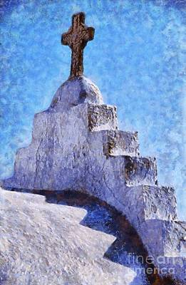 Cross Painting - Panagia Paraportiani Church In Mykonos Island by George Atsametakis