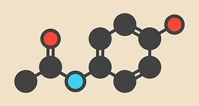 Paracetamol Molecule Art Print by Molekuul