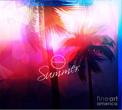 Digital Art - Paradise Island-palm Tree Sunset by Alessandram