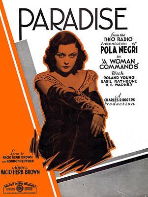 Pola Negri Photograph - Paradise by Mel Thompson