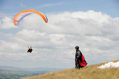 Paraponters Flying From Pendle Hill Art Print by Ashley Cooper