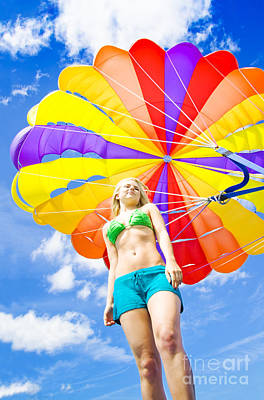Floating Girl Photograph - Parasailing On Summer Vacation by Jorgo Photography - Wall Art Gallery