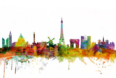 Tower Digital Art - Paris France Skyline by Michael Tompsett