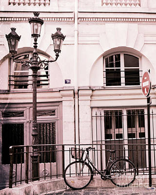 Paris Pink Bicycle With Street Lamps - Paris Bicycle Pink Black Architecture Street Lanterns Art Print by Kathy Fornal