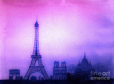 Paris Skyline Paintings - Paris Skyline by Donna Walsh