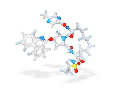 Atom Photograph - Paritaprevir Drug Molecule by Ramon Andrade 3dciencia