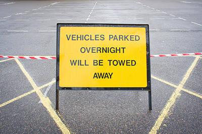 Asphalt Photograph - Parking Sign by Tom Gowanlock