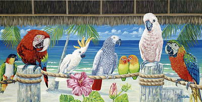 Hibiscus Painting - Parrots In Paradise by Danielle  Perry