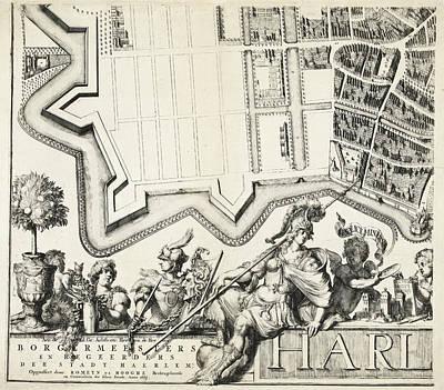 Hermes Wall Art - Drawing - Part Of The Plan Of Haarlem, The Netherlands by Romeyn De Hooghe