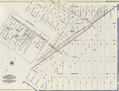 Volumes Drawing - Part Of Wards 29 & 32, Land Map Section by Litz Collection