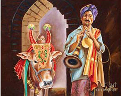 Art Print featuring the painting Partners In Alms by Ragunath Venkatraman