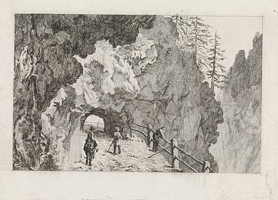 Mountain View Drawing - Passage In The Rocks, David Van Der Kellen IIi by David Van Der Kellen (iii) And Marinus Van Raden