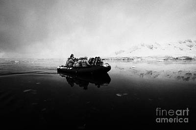 Fournier Photograph - Passengers On Board A Zodiac In Fournier Bay On Excursion In Antarctica by Joe Fox
