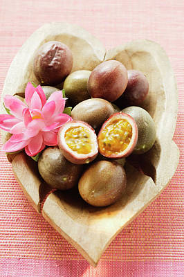 Passion Fruits (purple Granadilla) In Wooden Bowl Art Print