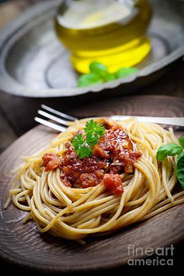 Pasta With Tomato Sauce Art Print by Mythja  Photography