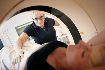 Scanner Photograph - Patient In A Ct Scanner by Thomas Fredberg