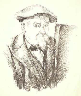 Self-portrait Drawing - Paul Cézanne French, 1839 - 1906. Self Portrait by Litz Collection