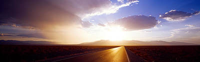 Asphalt Photograph - Paved Road At Sunset, Death Valley by Panoramic Images