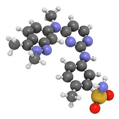 Pazopanib Cancer Drug Molecule Art Print by Molekuul