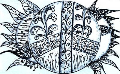 Peace Sun Flower Art Print