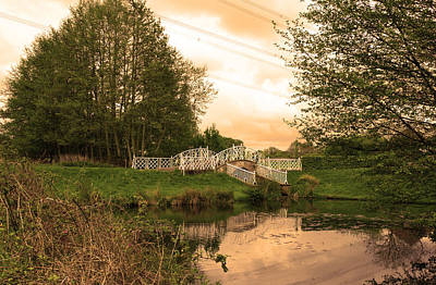 Photograph - peaceful nature area with river and bridge in the English countr by Fizzy Image