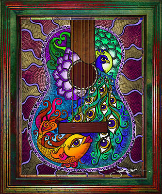 Acoustic Guitar Drawing - Peacock - Fish Guitar by Julie Oakes