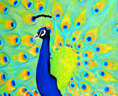 Art Print featuring the painting Peacock. Inspirations Collection. by Oksana Semenchenko