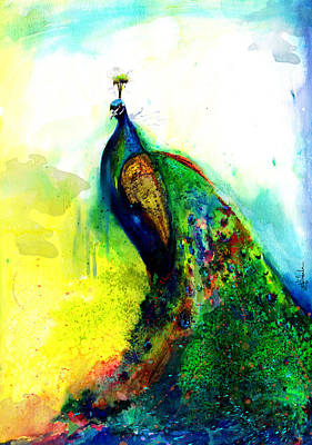Surrealistic Painting - Peacock by Isabel Salvador