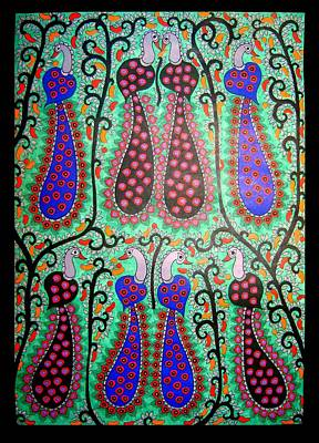 Painting - Peacocks-madhubani Painting by Neeraj kumar Jha