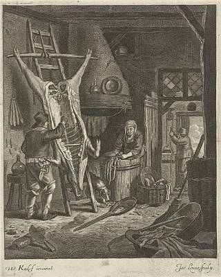 Carcass Drawing - Peasant Interior With Carcass by Jacob Louys