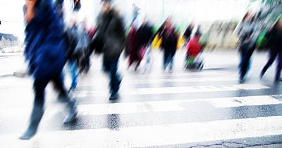 Crosswalk Photograph - Pedestrian Crossing Rush. by Michal Bednarek