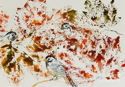 Painting - Peek A Boo Chickadees by Ellen Levinson