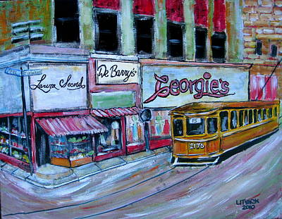 R Laura Secord Painting - Peel And St. Catherine 1955 by Michael Litvack